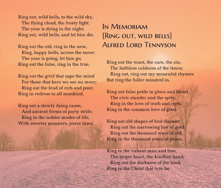 "Tennyson's poem ""In Memoriam [Ring Out, Wild Bells]"" on a winter sunrise background."